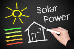 Energía solar en la pizarra fotografía de archivo libre de regalías