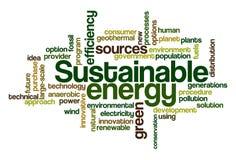 Energía sostenible - nube de la palabra foto de archivo libre de regalías
