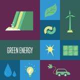 Energía verde, iconos fijados Concepto de Eco Fotografía de archivo