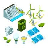 Energía verde Símbolos isométricos del vector de la tecnología 3d del ecosistema hidráulico eléctrico de las turbinas del poder d libre illustration