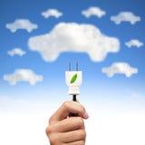 Energía verde y coche eléctrico imagen de archivo