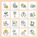 Energía verde y su protección para proteger el ambiente ilustración del vector