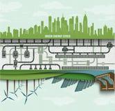 Energía renovable en la ciudad grande Generadores de viento Imagen de archivo libre de regalías