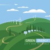 Energía verde, turbinas de viento y los paneles solares Imágenes de archivo libres de regalías