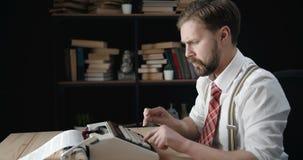 Bearded writer typing idea