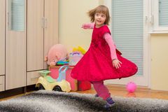 Energetic beautiful little girl dancer Royalty Free Stock Photo