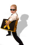 Energetic boy playing role play. Boy playing role of super hero or secret agent Stock Photography