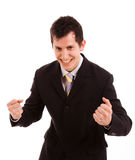 Energetic businessman. Happy energetic businessman with his arms raised, isolated on white Royalty Free Stock Image