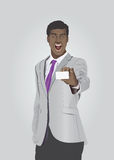 Energetic businessman showing white card stock illustration
