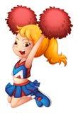 An energetic cheerleader. Illustration of an energetic cheerleader on a white background stock illustration