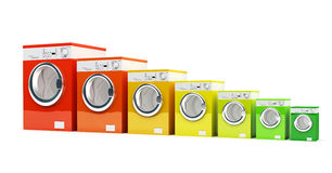 Energetic class washing machine. 3d washing machine with energetic class color stock illustration