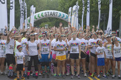 Energetic Color Runners Wait to Being the Race Stock Photography