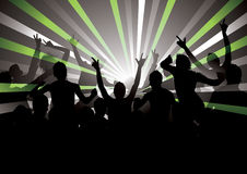 Energetic Crowd Illustration. Illustrated retro silhouette of an energetic crowd with their arms raised, and green, gray and white rays extending out from a vector illustration