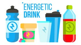 Energetic Drink Vector. Energy Icon. Bottle, Sport Can Or Tin. Isolated Flat Cartoon Illustration. Energetic Drink Vector. Energy Icon. Bottle, Sport Can Or Tin stock illustration