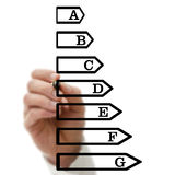 Energetic efficiency scale. Male hand drawing energetic efficiency scale on virtual screen Royalty Free Stock Photos