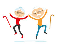 Energetic elderly couple Stock Images