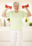 Energetic elderly woman training at home. Energetic elderly woman doing dumbbell exercises at home, smiling stock images