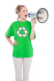 Energetic environmental activist shouting in megaphone Royalty Free Stock Photography