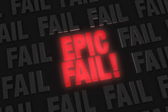 Energetic Epic Fail. A bright, glowing red EPIC FAIL! stands out in a dark field of gray FAILs vector illustration