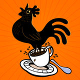 Energetic espresso cartoon rooster springing from coffee cup and singing at cockcrow, early bird. Wake up! Energetic espresso cartoon rooster springing from Royalty Free Stock Images