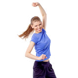 Energetic fitness woman exercising latin aerobics dance Stock Photos