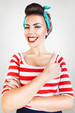 Energetic funny smiling woman Stock Photos