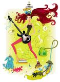 Energetic girl. Metaphor ilustration of Young pretty girl that tries to do all things simultaneously Stock Image