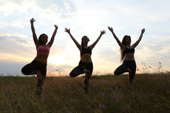 Energetic girls standing on one leg and holding hands over head. Beautiful women doing yoga and meditating, doing morning exercises and setting yourself up for royalty free stock photos