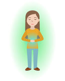 Energetic healing. Girl heal herself with energy field. Pranic healing. Alternative medicine concept. Vector illustration Royalty Free Stock Images