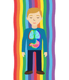 Energetic healing. Man heal himself with energy field. Pranic healing. Stock Images