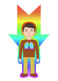 Energetic healing. Man heal himself with energy field. Pranic healing. Royalty Free Stock Photos