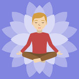 Energetic healing. Man heal himself with energy field. Pranic healing. Man in deep meditating consciousness. Alternative medicine concept. Vector illustration Royalty Free Stock Image