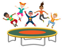 Energetic kids jumping on trampoline. Isolated on white background. Active happy girls and boys have fun gymnastic on the trampoline vector illustration vector illustration