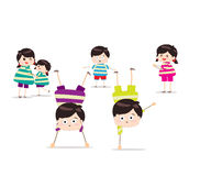 Energetic kids. Little Children happy playing illuttration royalty free illustration