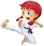 An energetic little girl doing karate. Illustration of an energetic little girl doing karate on a white background Royalty Free Stock Photos