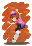 An energetic little girl skateboarding Royalty Free Stock Images