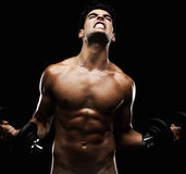 An energetic naked man lifting dumbbell Royalty Free Stock Images