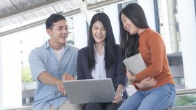 Energetic optimistic teen people and business woman searching fo. The energetic optimistic teen people and business women searching for solution or job applicant Royalty Free Stock Photography