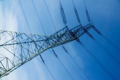 Energetic pylon over sky Royalty Free Stock Photo