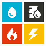 Energetic resources vector icons. Water, oil, gas and electricity energy resources vector Icons Royalty Free Stock Images