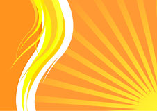 Energetic summer card with waves and sunrays. Clip-art royalty free illustration