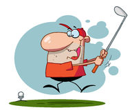 Energetic toon guy swinging his golf cub Royalty Free Stock Photo