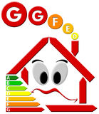 Energetic waste G. Red house stylized with sad face and chart consumes voters Stock Image