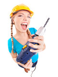 Energetic woman with drill Stock Photos
