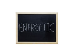 ENERGETIC written with white chalk on blackboard Royalty Free Stock Photo