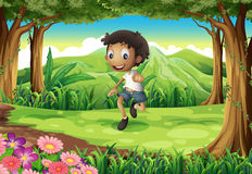An energetic young boy in the middle of the forest. Illustration of an energetic young boy in the middle of the forest vector illustration