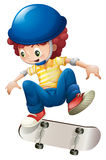 An energetic young boy skateboarding. Illustration of an energetic young boy skateboarding on a white background stock illustration