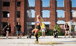 Energetic young hip hop street dancer royalty free stock photography