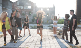 Energetic young hip hop street dancers Royalty Free Stock Image