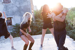 Energetic young hip hop street dancers Royalty Free Stock Photos